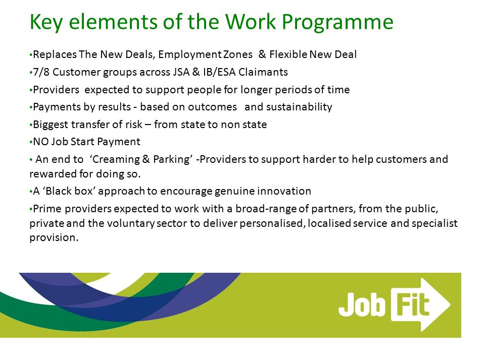 Key elements of the Work Programme