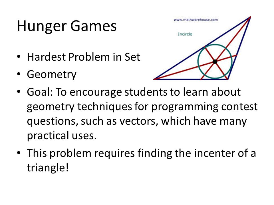 Hunger Games Hardest Problem in Set Geometry