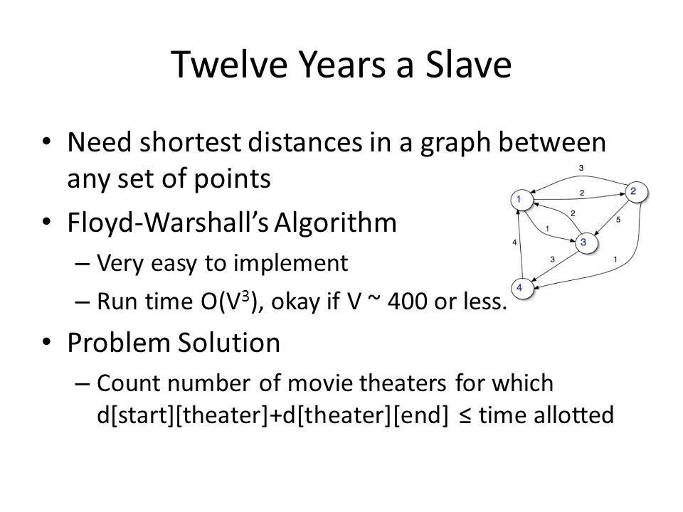 Twelve Years a Slave Need shortest distances in a graph between any set of points. Floyd-Warshall's Algorithm.