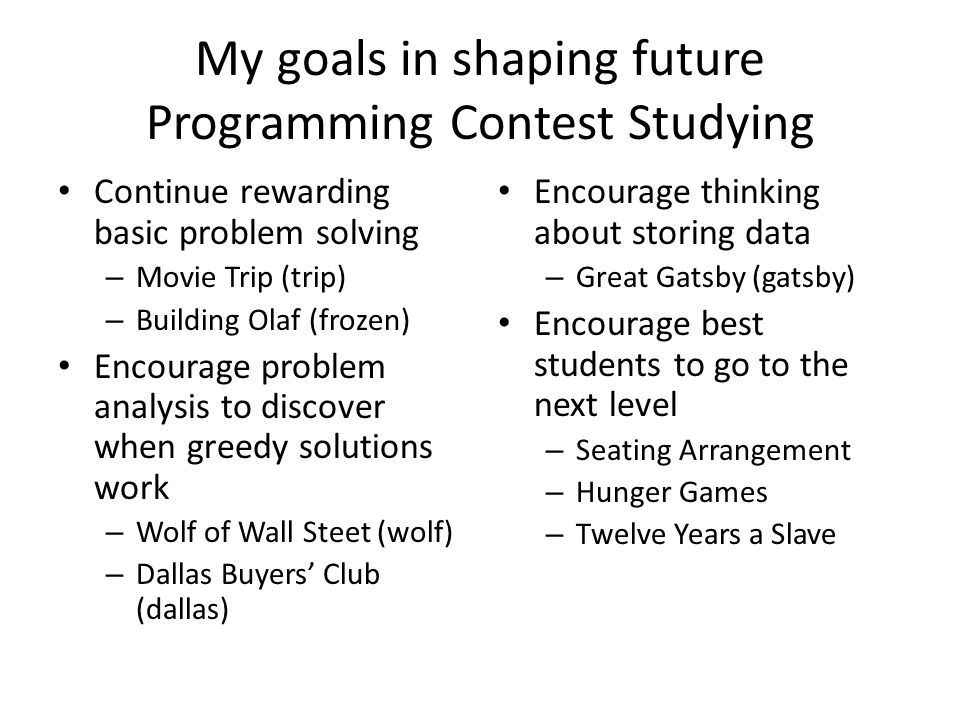 My goals in shaping future Programming Contest Studying