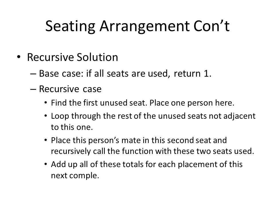Seating Arrangement Con't