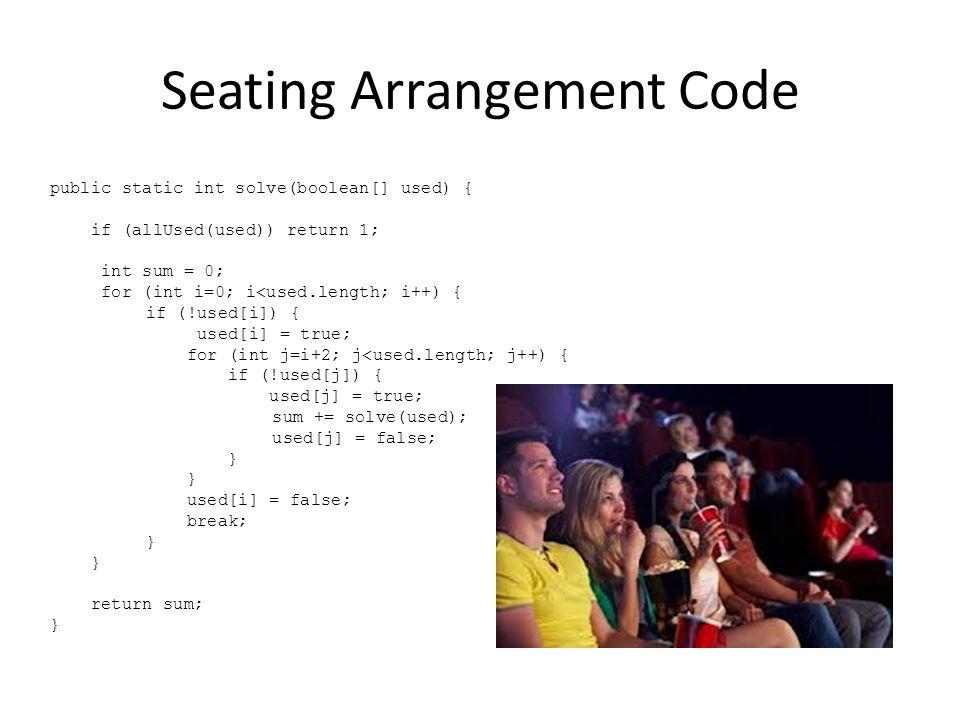 Seating Arrangement Code
