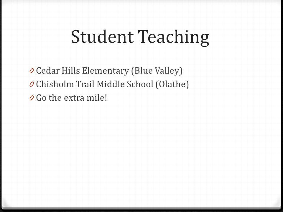 Student Teaching Cedar Hills Elementary (Blue Valley)