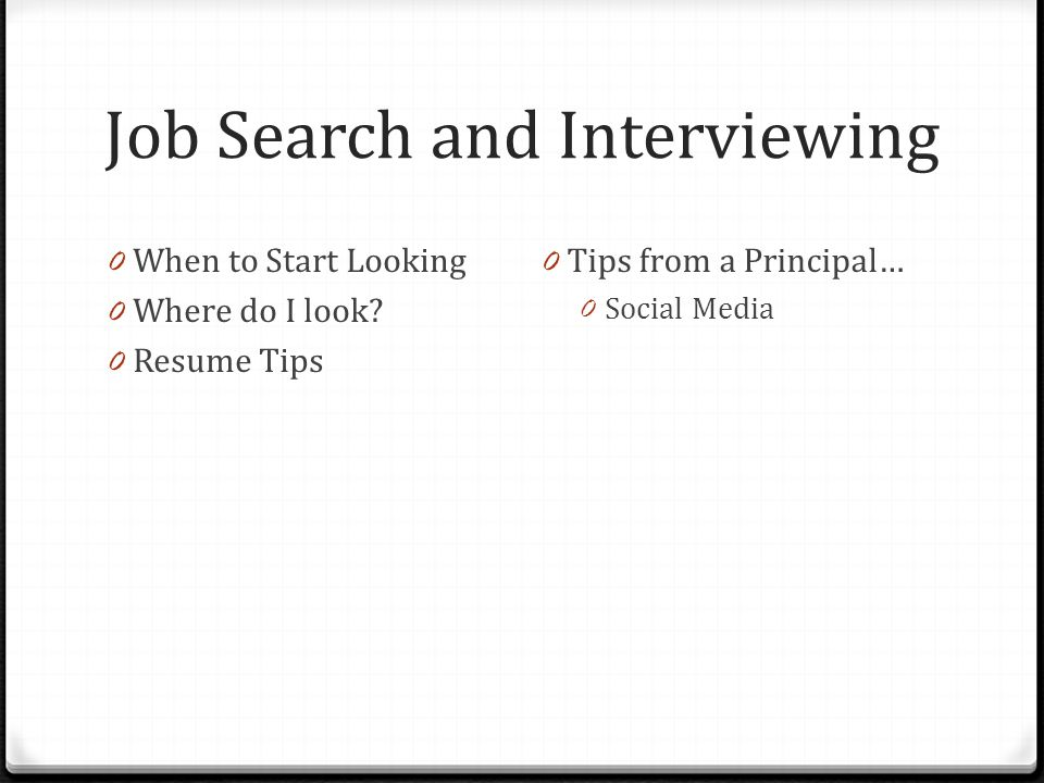 Job Search and Interviewing
