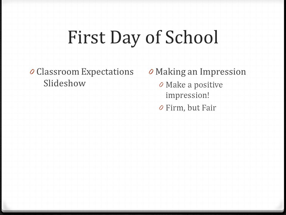 First Day of School Classroom Expectations Slideshow