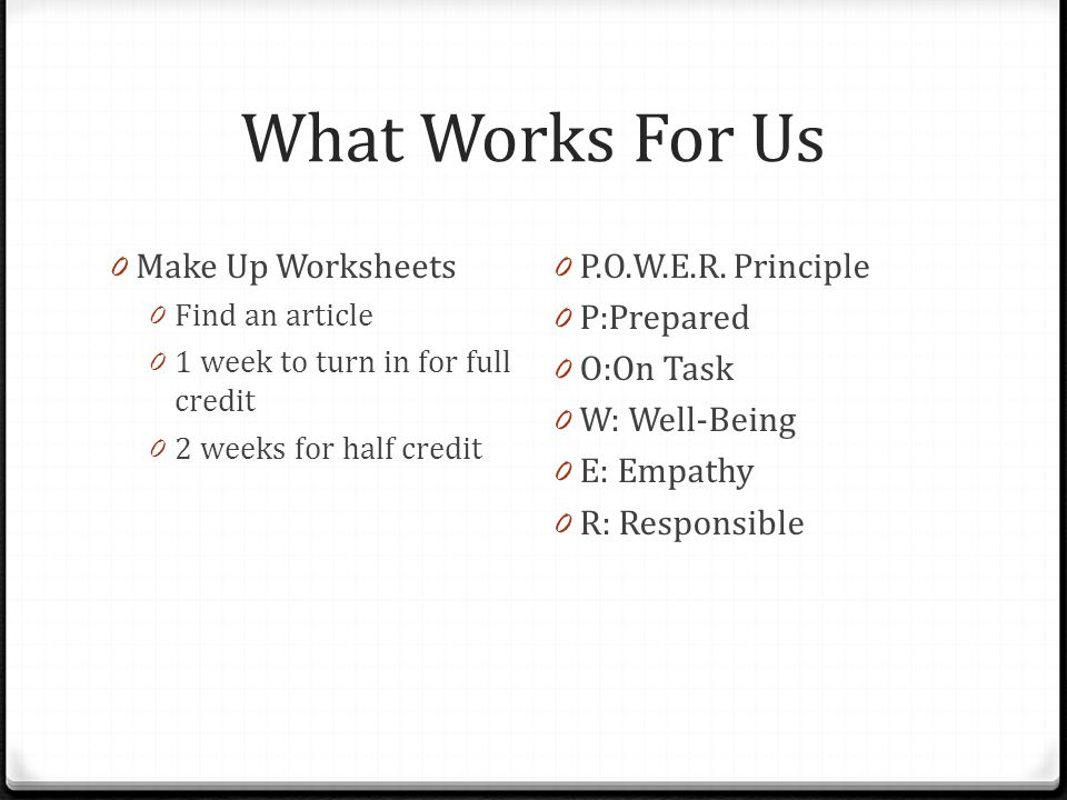 What Works For Us Make Up Worksheets P.O.W.E.R. Principle P:Prepared