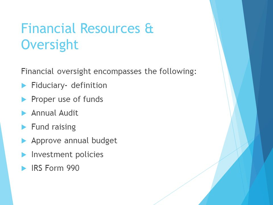 Financial Resources & Oversight