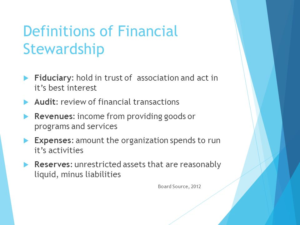 Definitions of Financial Stewardship
