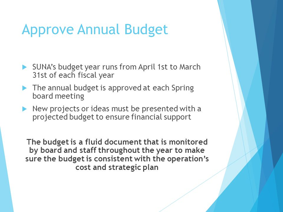 Approve Annual Budget SUNA's budget year runs from April 1st to March 31st of each fiscal year.