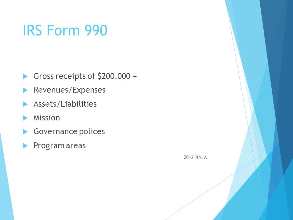 IRS Form 990 Gross receipts of $200,000 + Revenues/Expenses