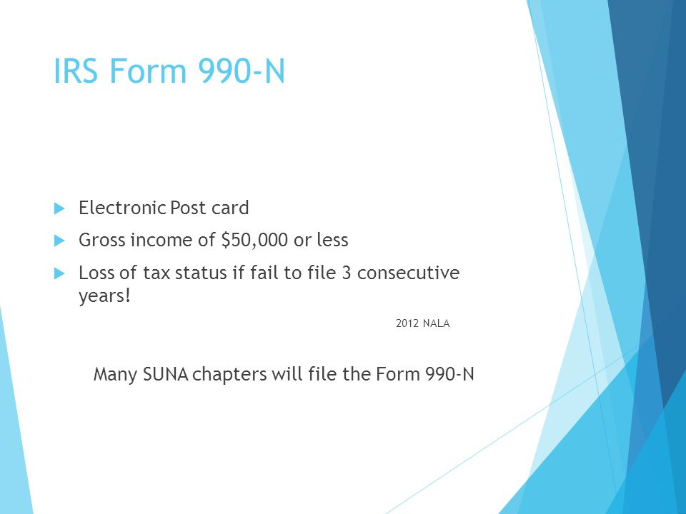 Many SUNA chapters will file the Form 990-N