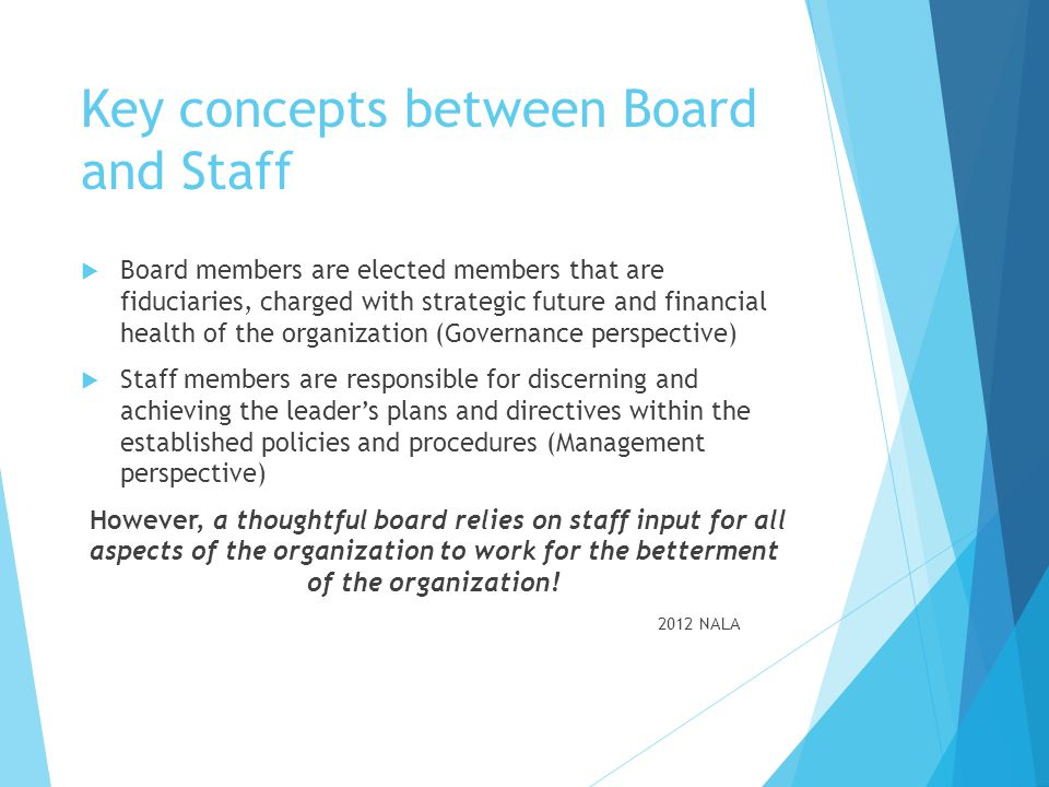 Key concepts between Board and Staff