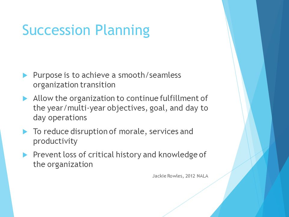 Succession Planning Purpose is to achieve a smooth/seamless organization transition.