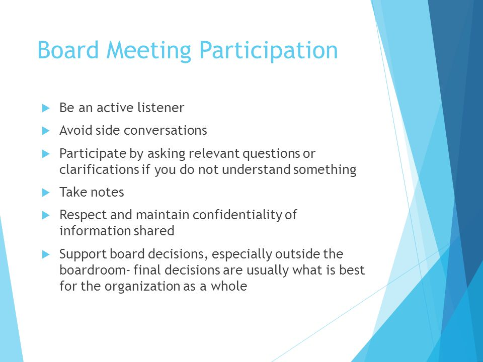 Board Meeting Participation