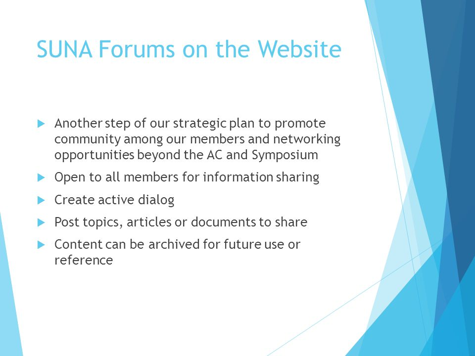 SUNA Forums on the Website