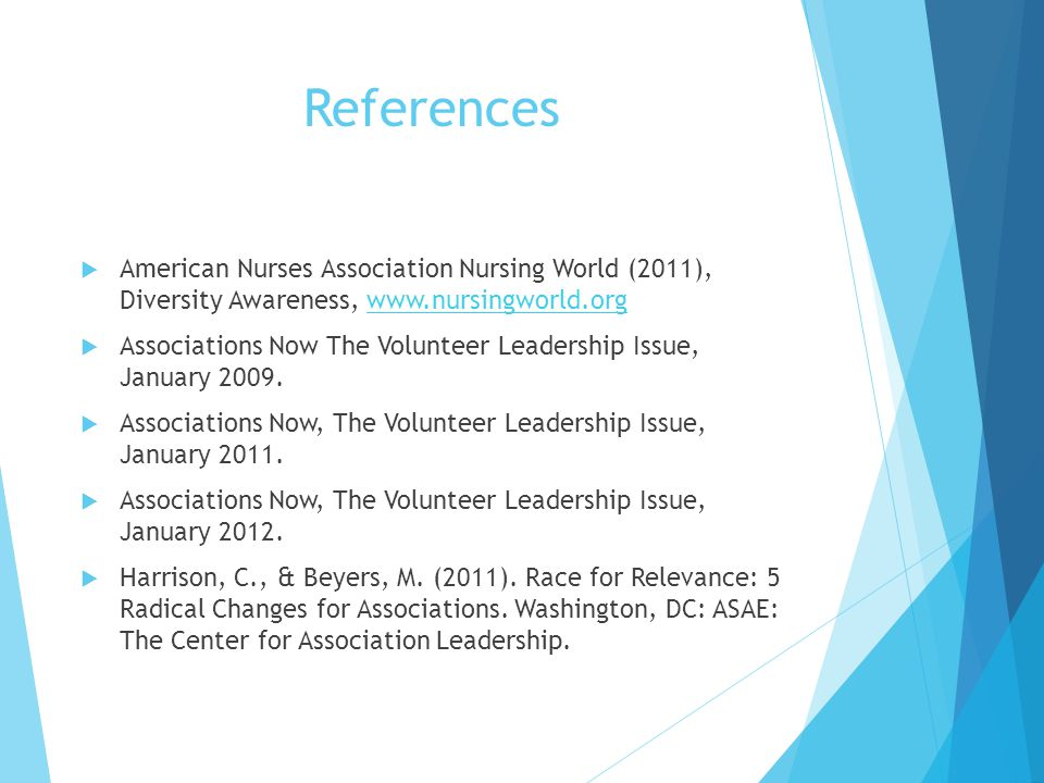 References American Nurses Association Nursing World (2011), Diversity Awareness, www.nursingworld.org.