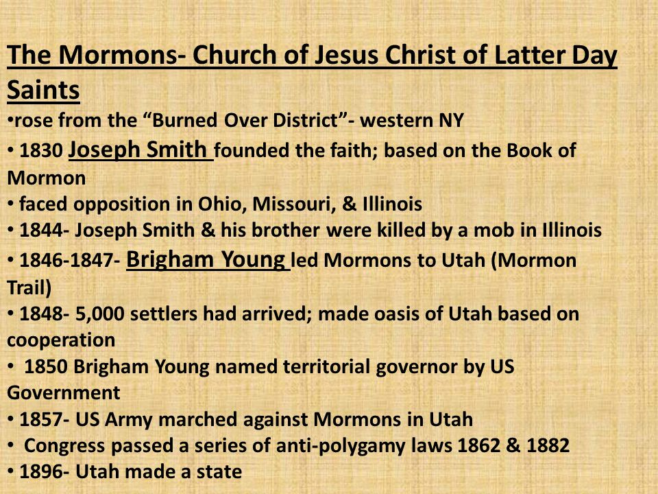 The Mormons- Church of Jesus Christ of Latter Day Saints