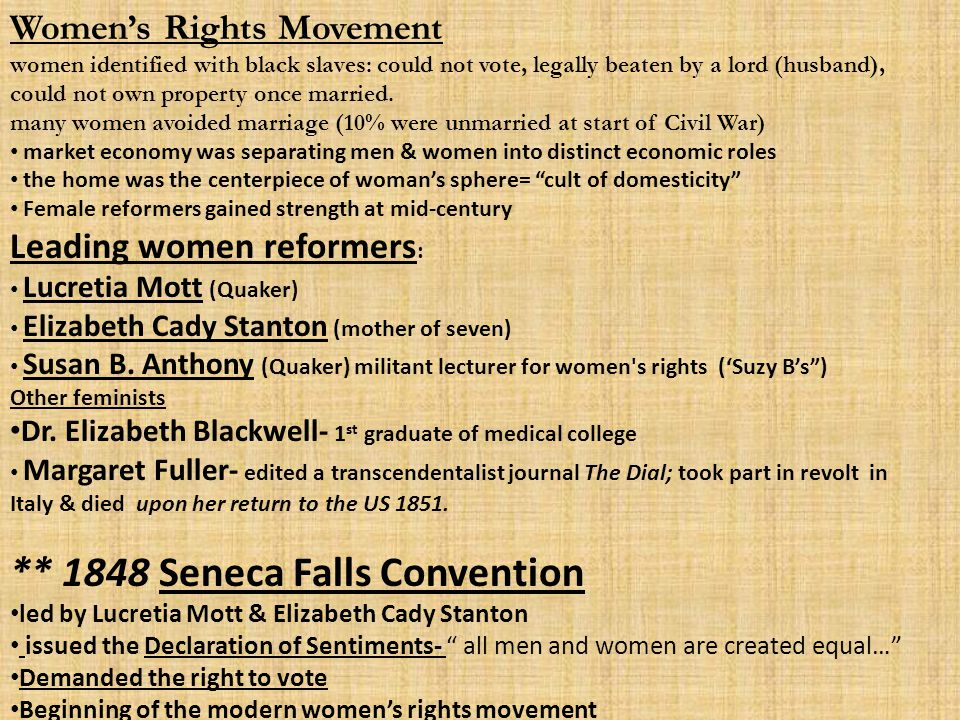 ** 1848 Seneca Falls Convention