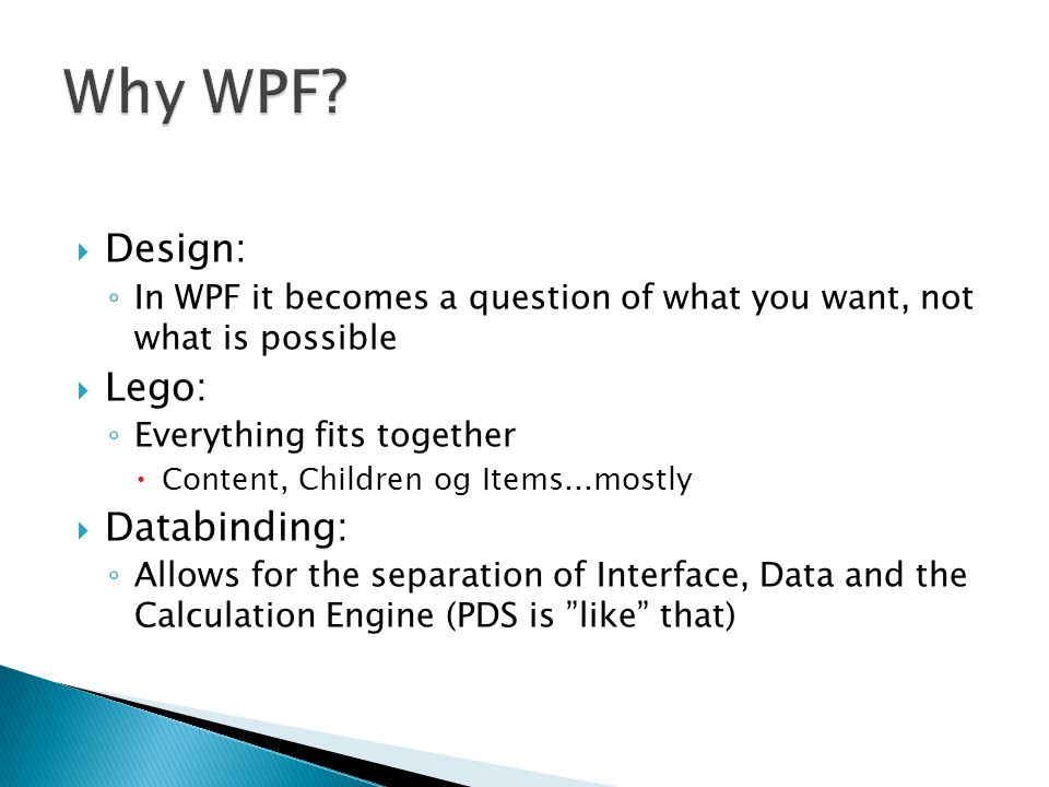 Why WPF Design: Lego: Databinding: