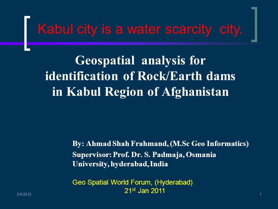 Kabul city is a water scarcity city.