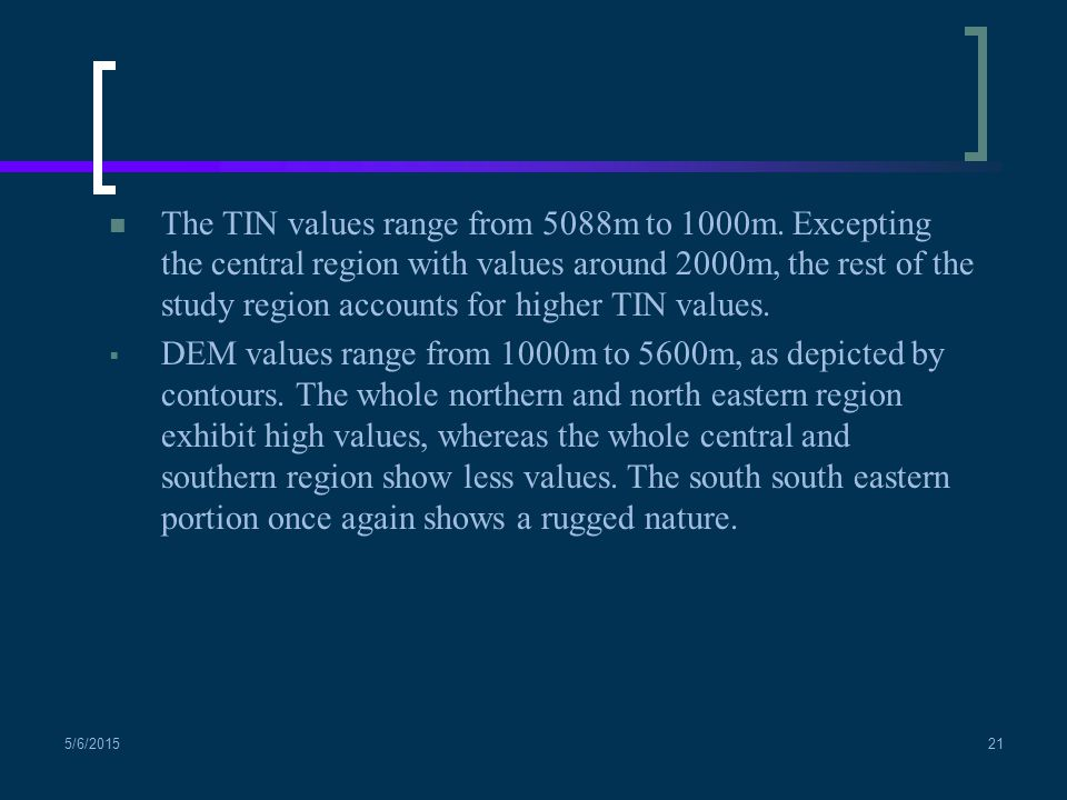 The TIN values range from 5088m to 1000m