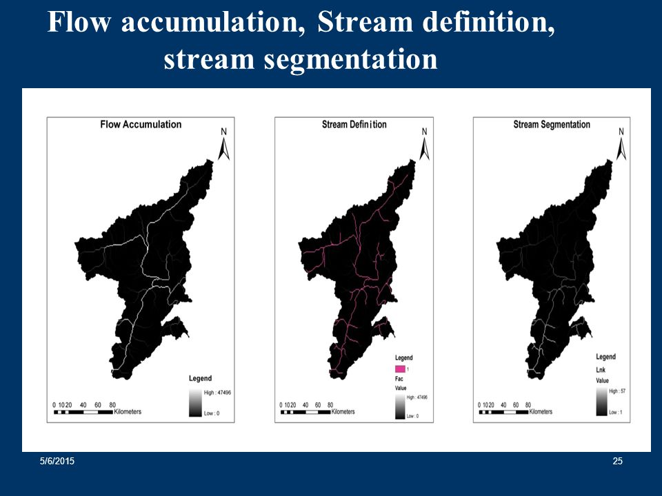 Flow accumulation, Stream definition, stream segmentation