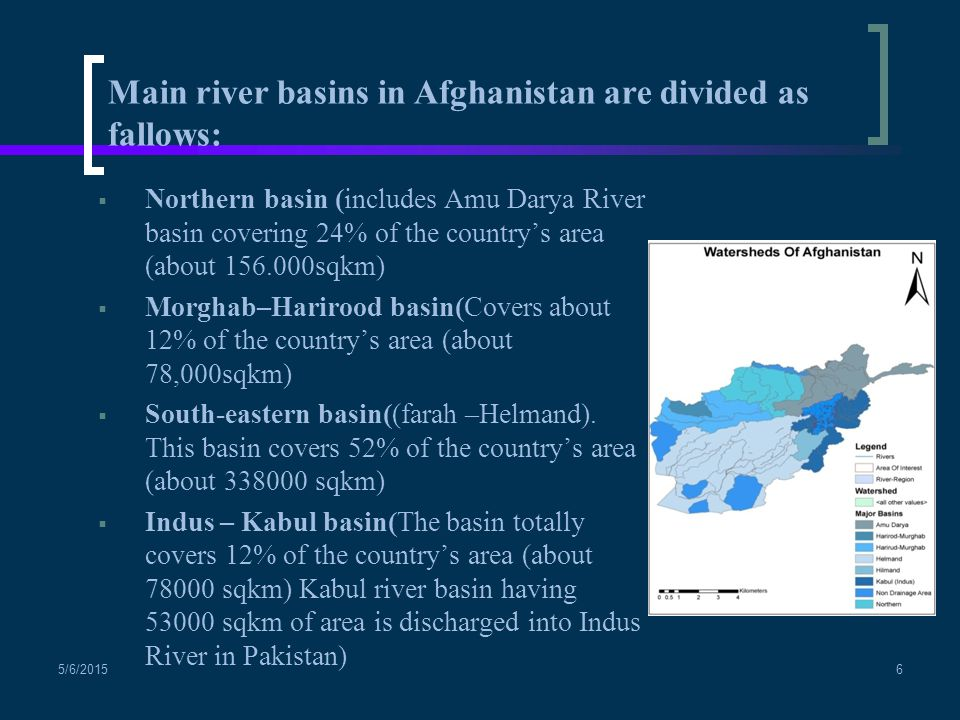 Main river basins in Afghanistan are divided as fallows:
