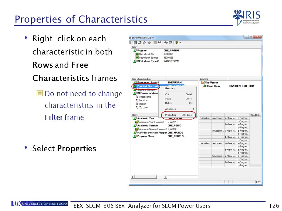 Properties of Characteristics
