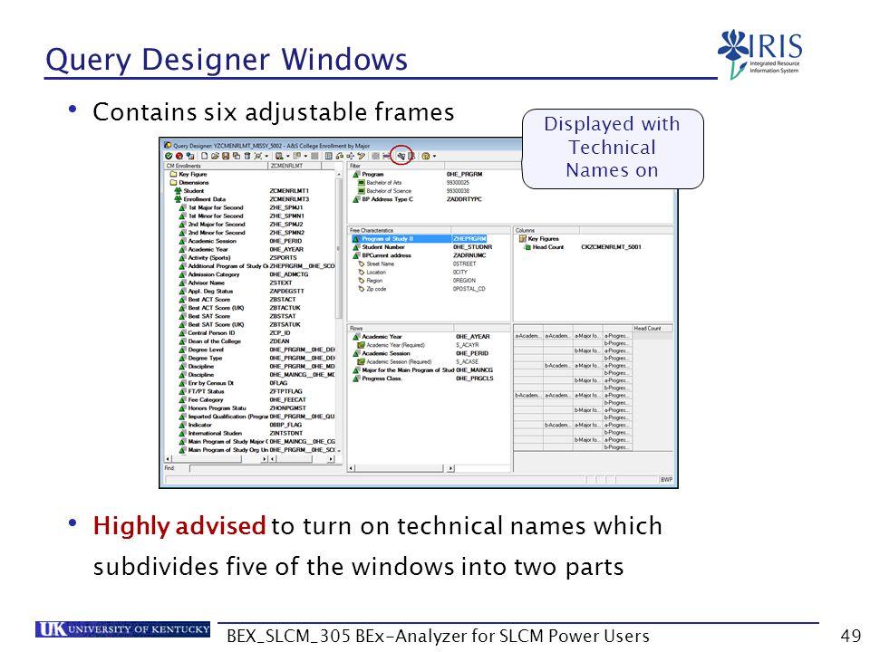 Query Designer Windows