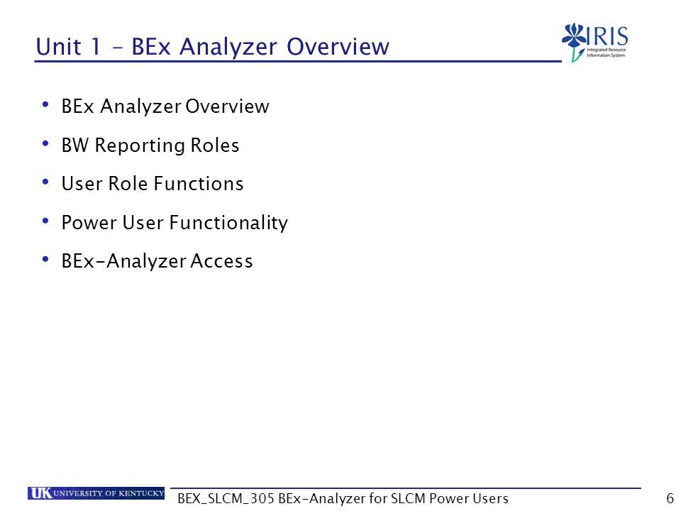 Unit 1 – BEx Analyzer Overview