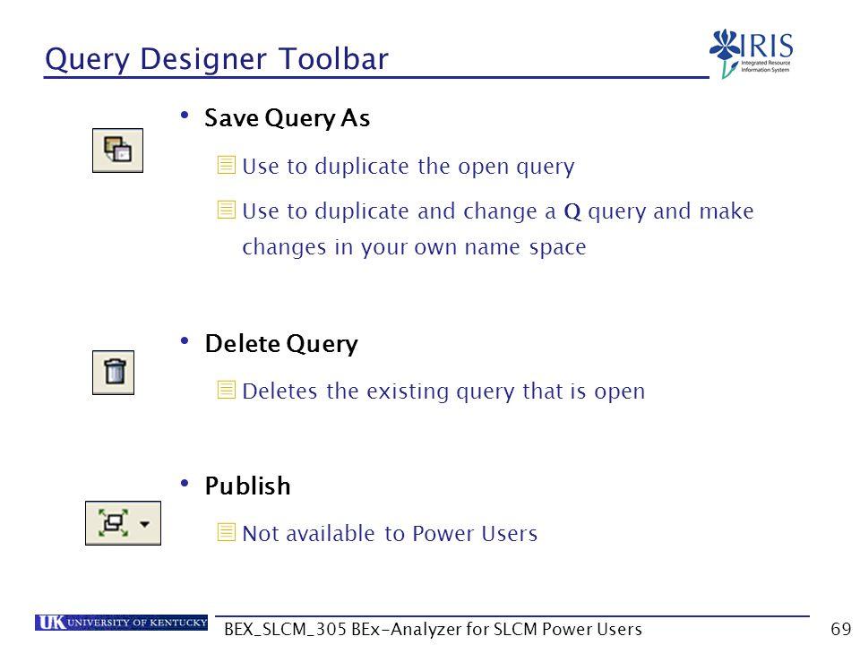 Query Designer Toolbar