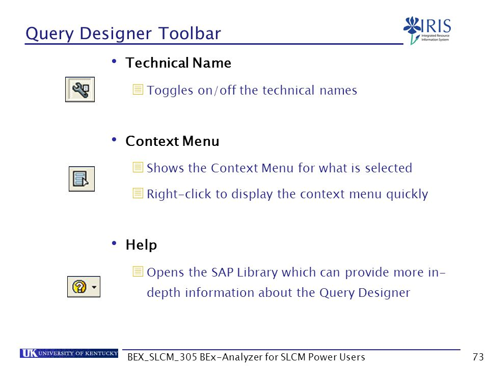 Query Designer Toolbar