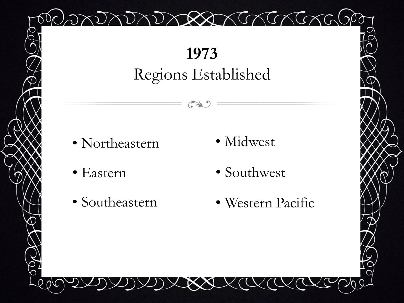 1973 Regions Established Northeastern Midwest Eastern Southwest