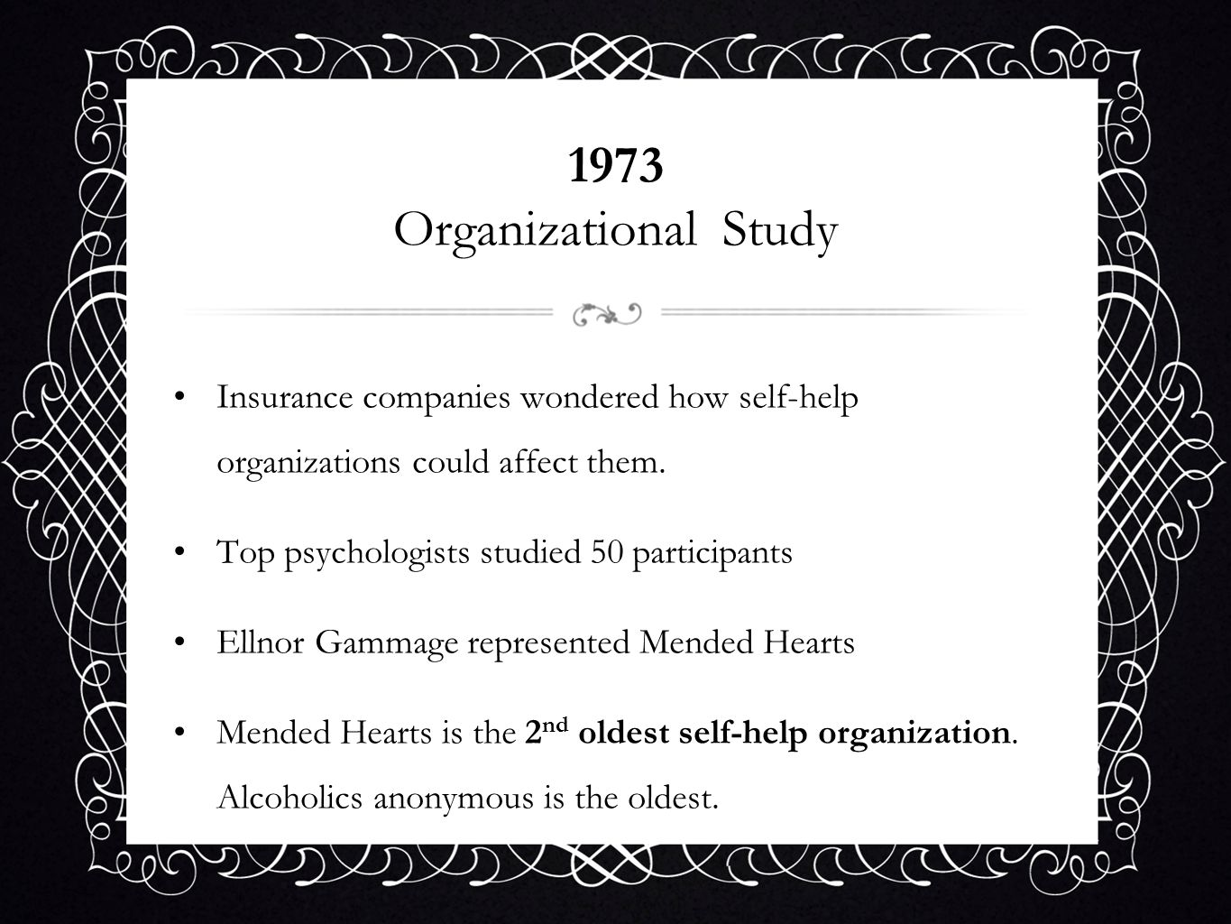 1973 Organizational StudyInsurance companies wondered how self-help organizations could affect them.