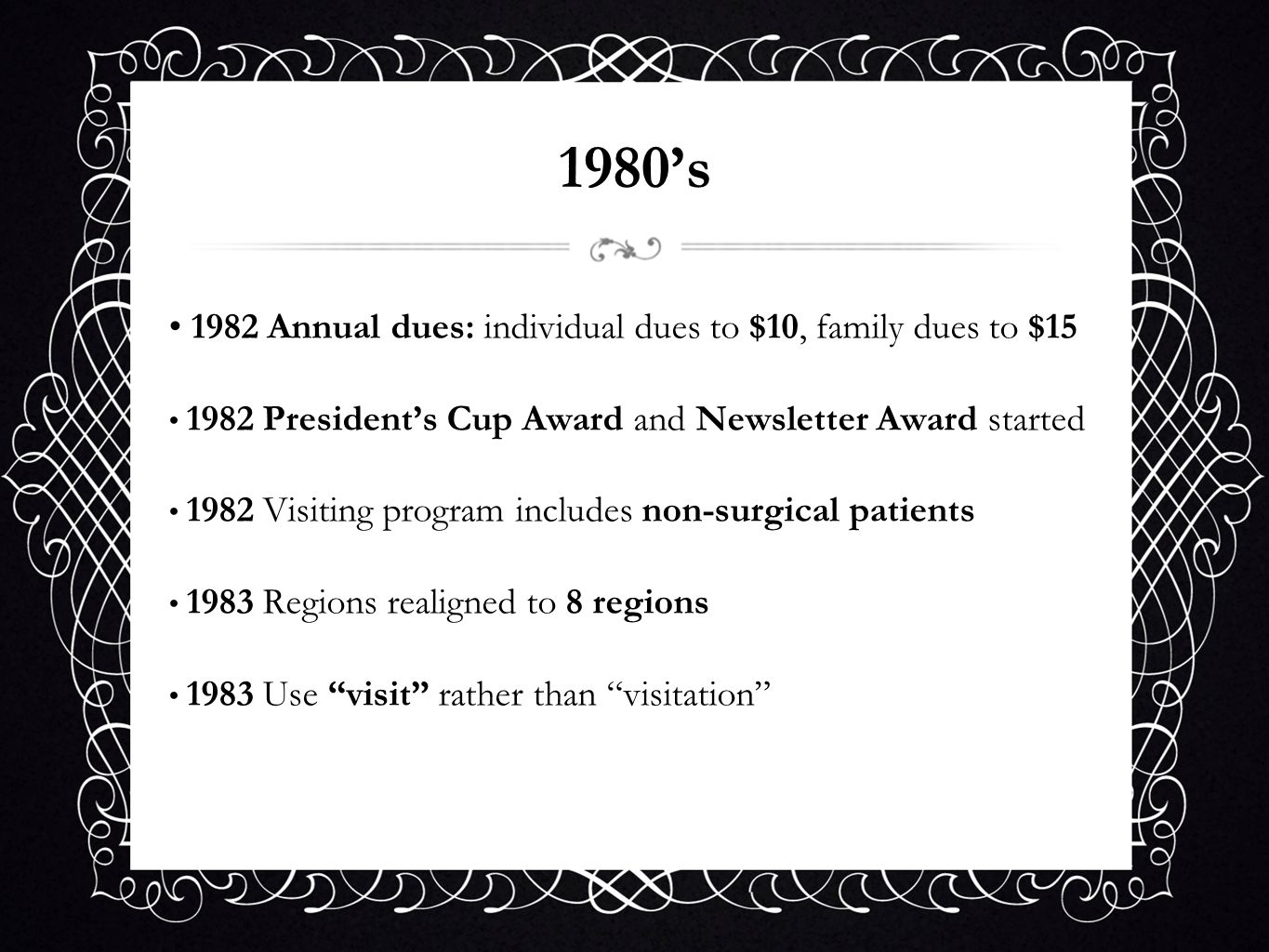 1980's 1982 Annual dues: individual dues to $10, family dues to $15