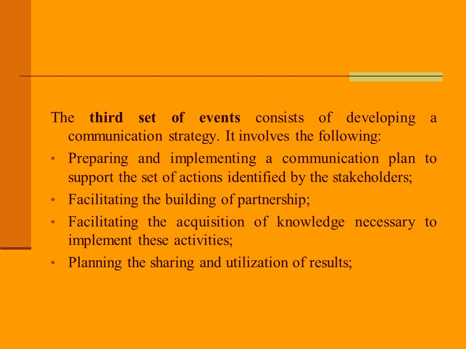 The third set of events consists of developing a communication strategy. It involves the following: