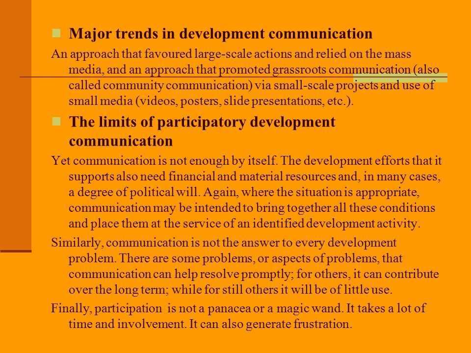 Major trends in development communication
