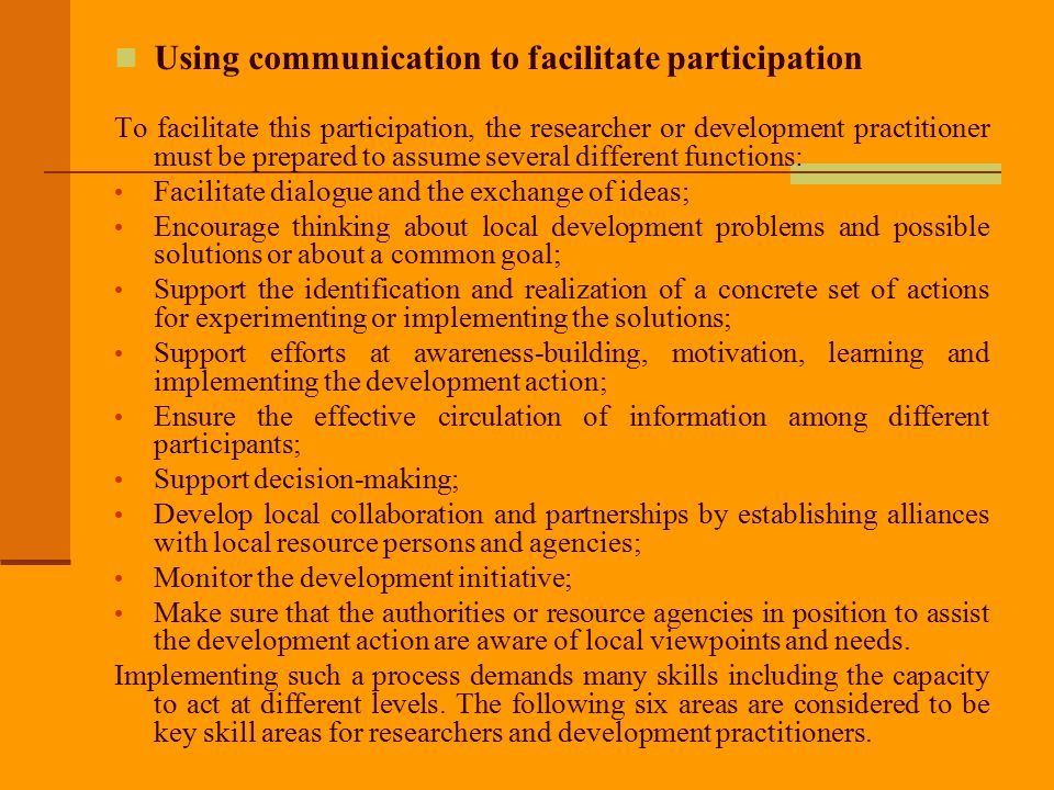 Using communication to facilitate participation