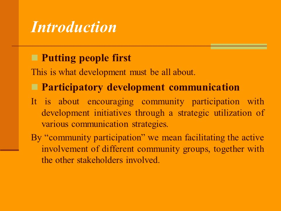 Introduction Putting people first