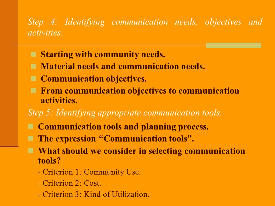 Step 4: Identifying communication needs, objectives and activities.