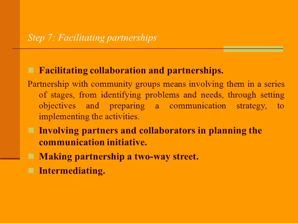 Step 7: Facilitating partnerships