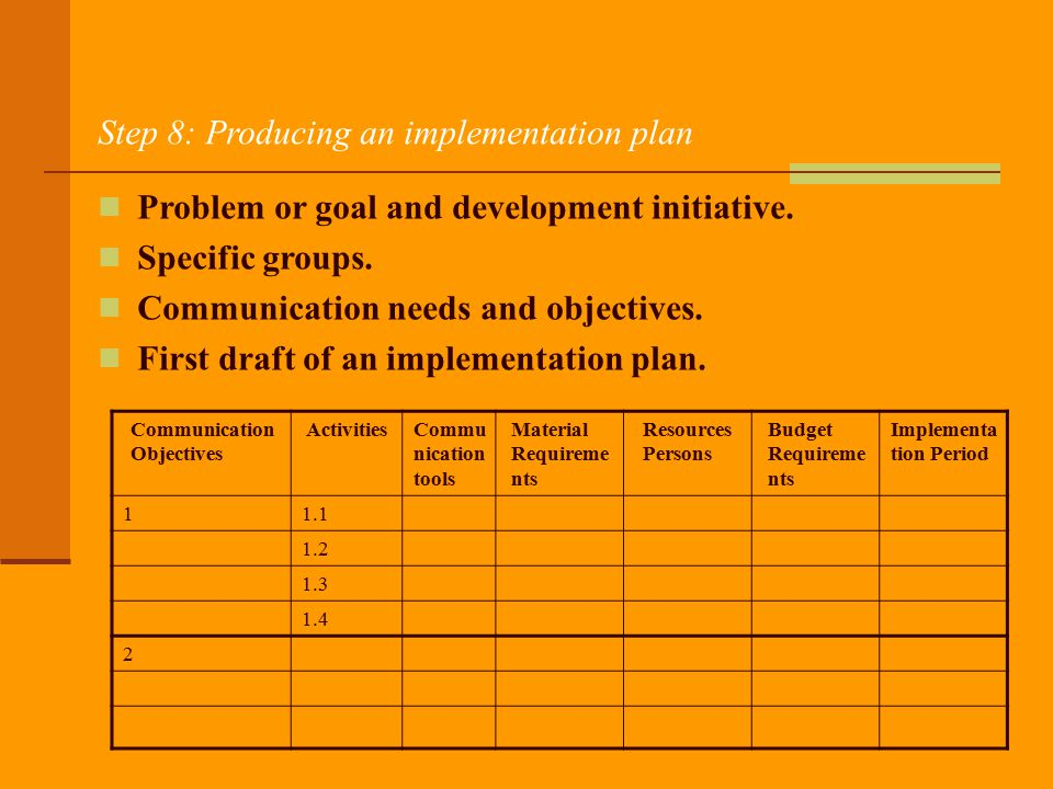 Step 8: Producing an implementation plan