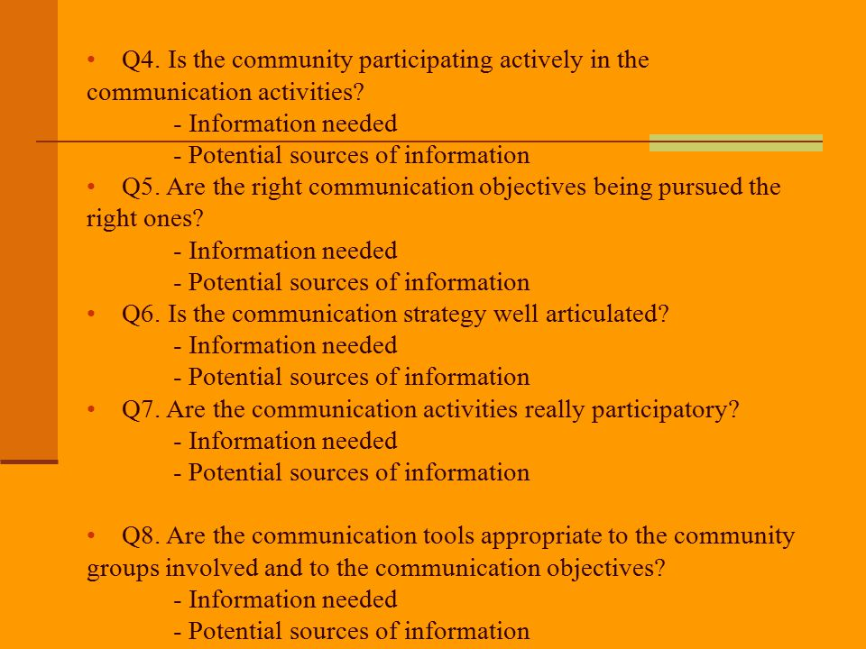 - Potential sources of information