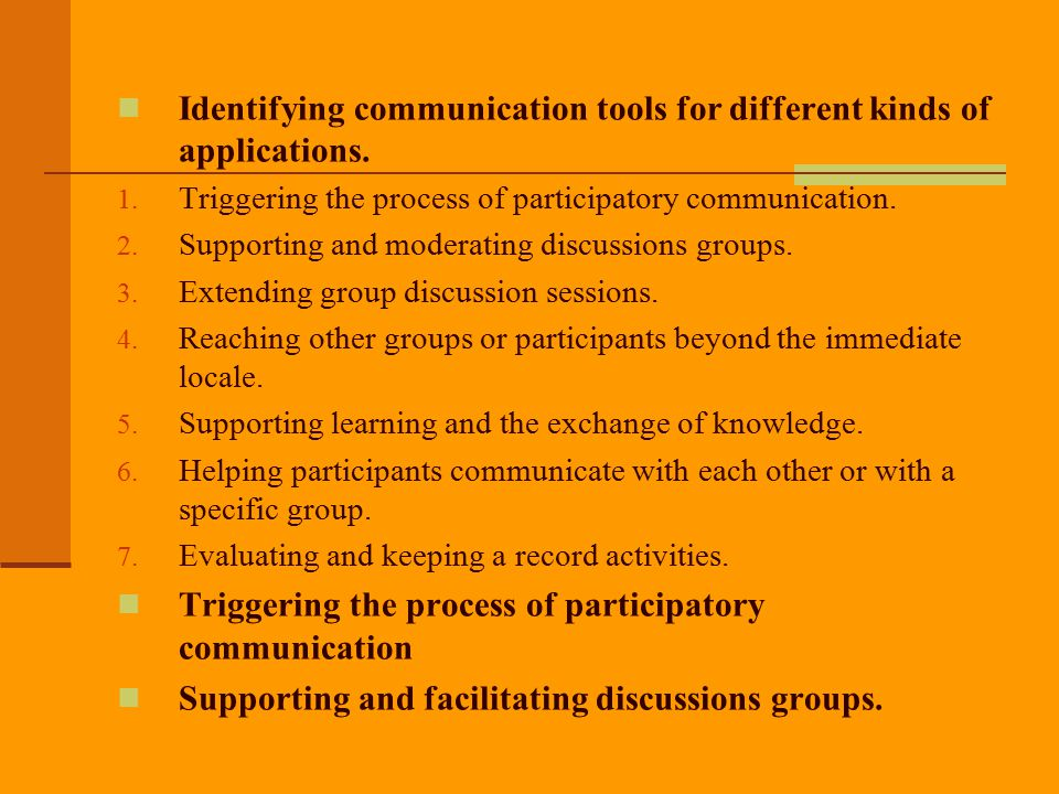 Identifying communication tools for different kinds of applications.