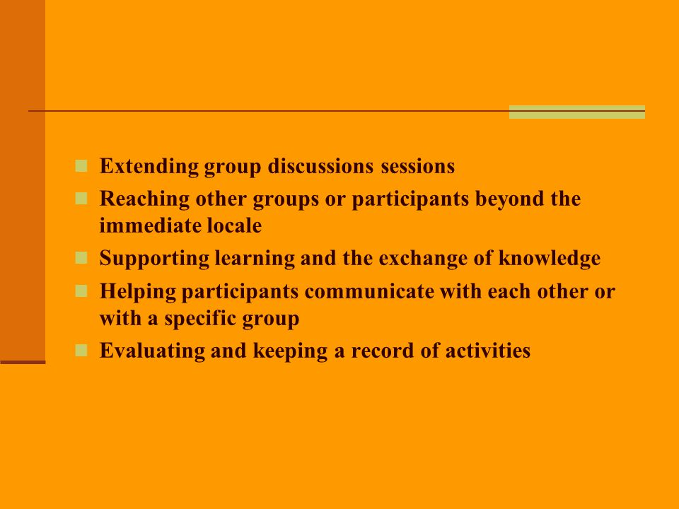 Extending group discussions sessions
