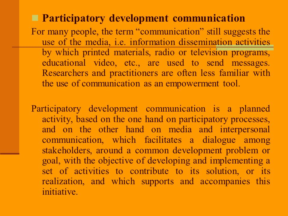 Participatory development communication