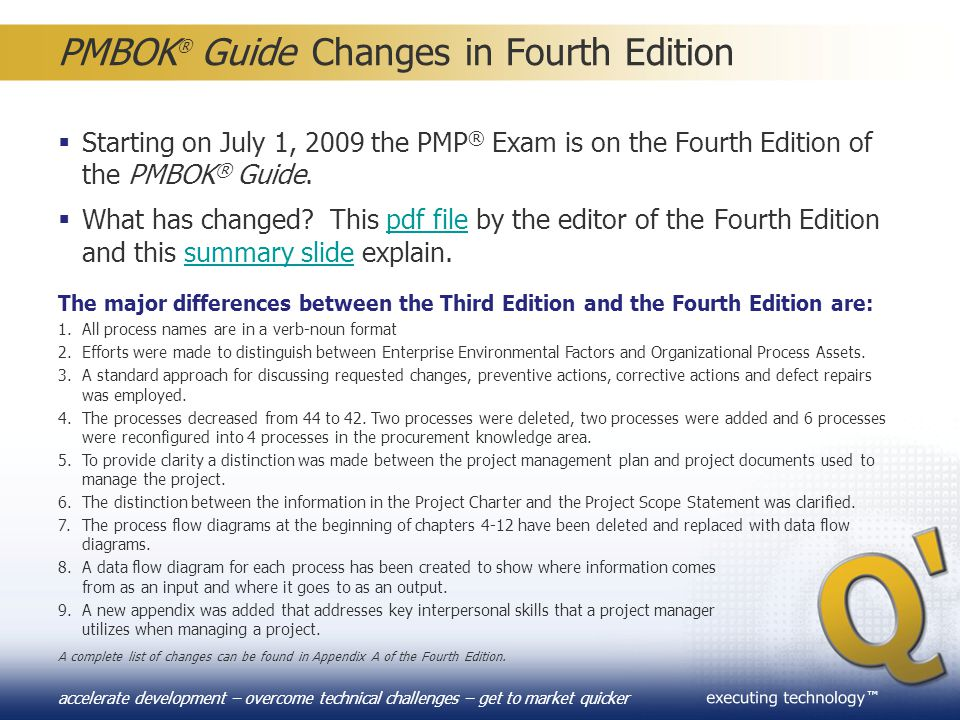 PMBOK® Guide Changes in Fourth Edition