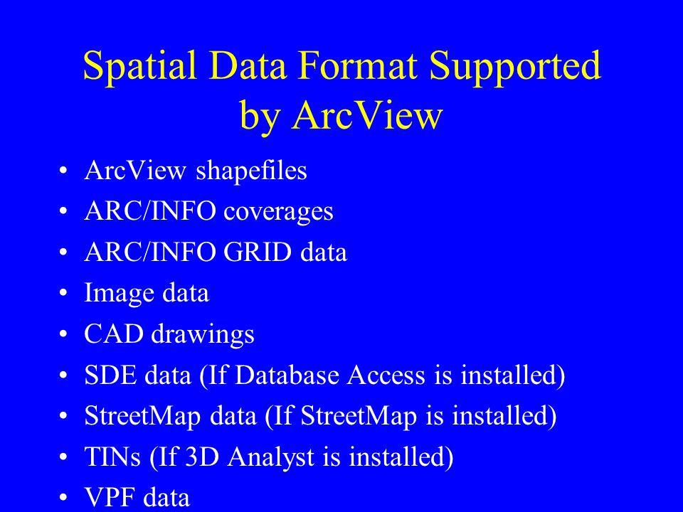 Spatial Data Format Supported by ArcView