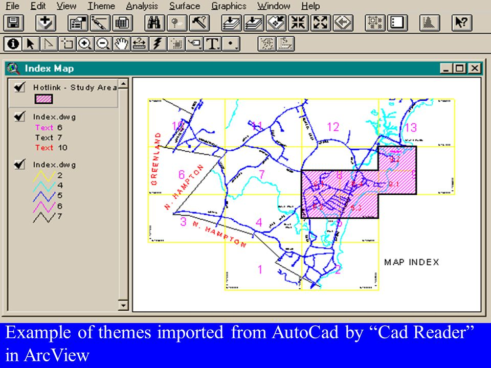 Example of themes imported from AutoCad by Cad Reader in ArcView