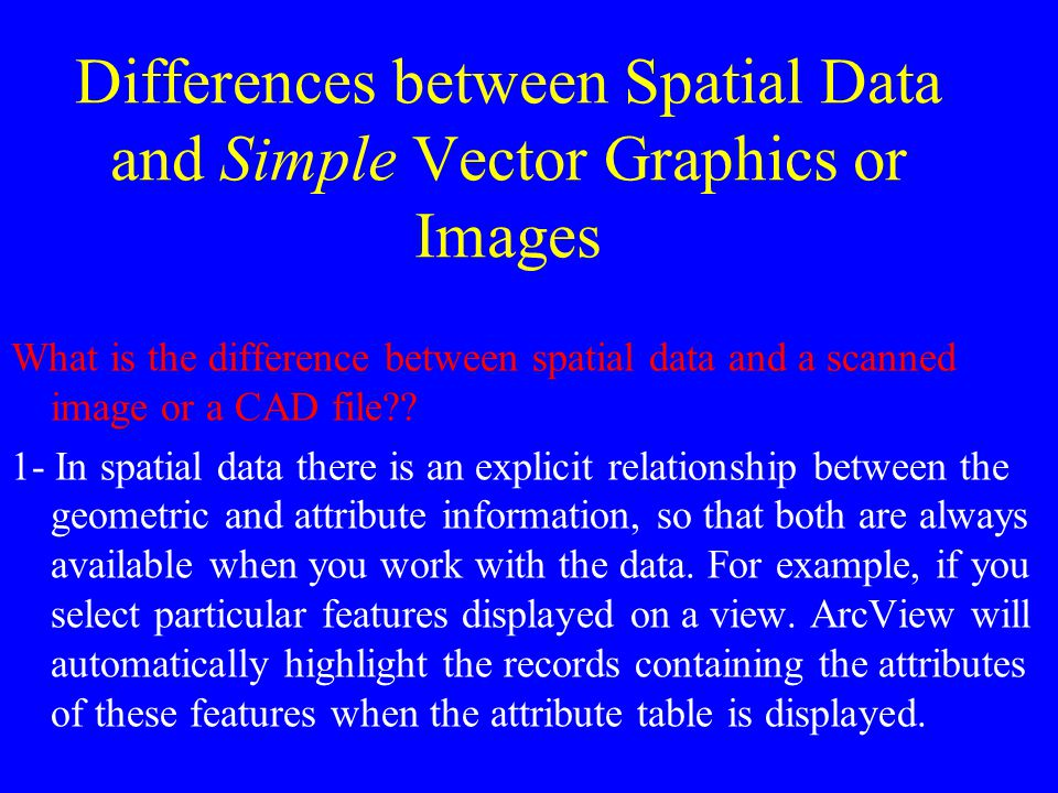 Differences between Spatial Data and Simple Vector Graphics or Images